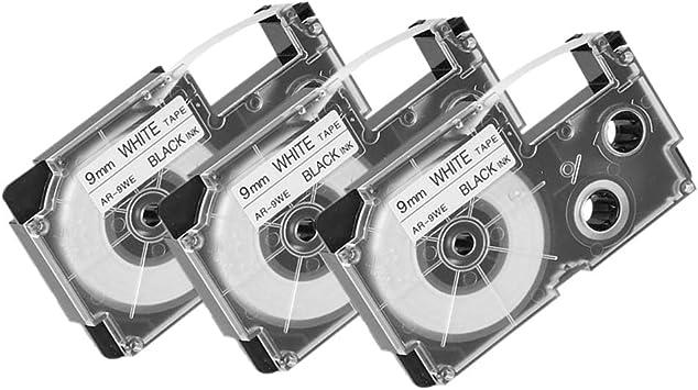 6 PK XR-9WE 9mm Black on White Label Tape for EZ Printer KL-60SR C500 7200 8800