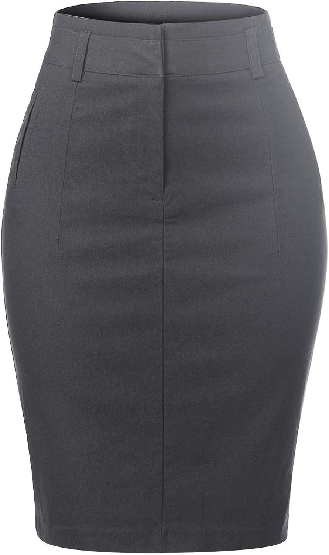 MixMatchy Women's Slim Dressy High Waist Knee Pencil Skirt Skirt Office Work Uniform