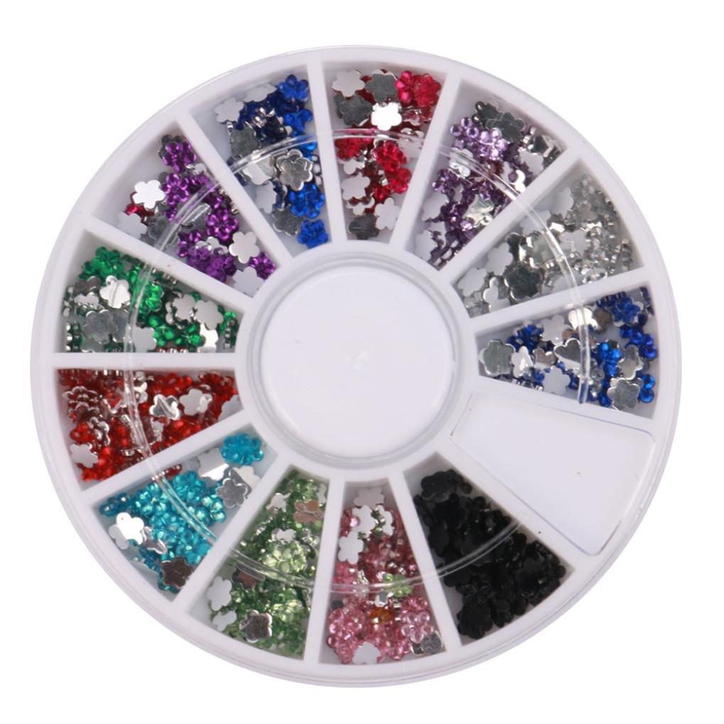 1 Box Colour Steel Bead 3D Round Nail Studs Nail Rhinestone Nail Art Decoration