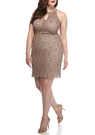 RM Richards Plus Size Keyhole Neck Sequins and Lace Dress Taupe ...