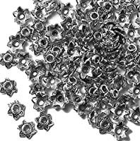100 Bead Caps 7x2mm Flower for 6mm to 12mm Beads Antiqued Silver Cast Pewter Metal Beads