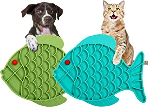 Slow Feeder Dog Bowls Lick Mat 2 Pack, Anti-Gulping Dog Food Bowls for Anxiety Relief, Cat Puzzle Feeder Stop Bloat, Eco-Friendly Durable Non-Toxic Preventing Choking Healthy Bowl (Fish)