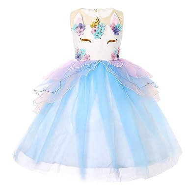 e6cf22965ce9c Amazon.com: Girls Unicorn Dress Birthday Party Princess Dresses for Little Girls  Unicorn Tutu Costume Outfits with Headband: Clothing
