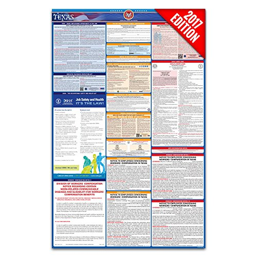 2017 Texas Labor Law Poster – State & Federal Compliant – Laminated