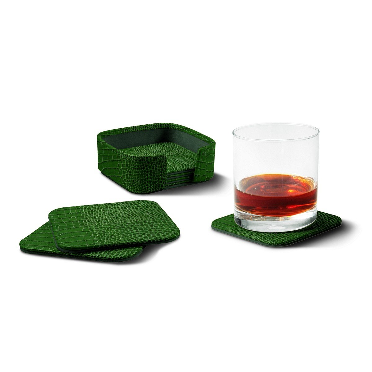 Lucrin - Set of 6 Square Genuine Leather Coasters with Coaster Holder - Light Green - Crocodile style calfskin