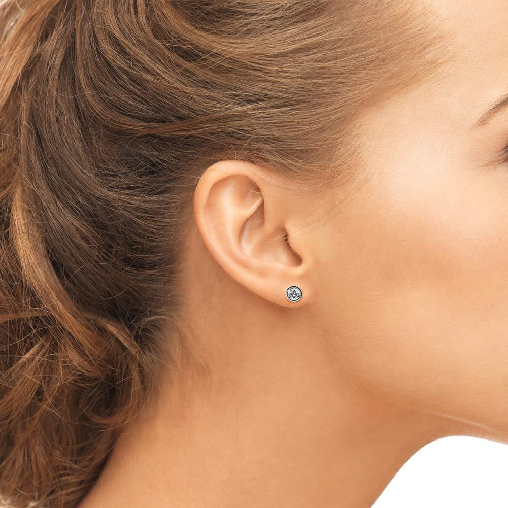 """colour studs earrings white,AB 925 sterling silver /""""4mm SWARKOVSI/"""" GIRL WOMEN"""