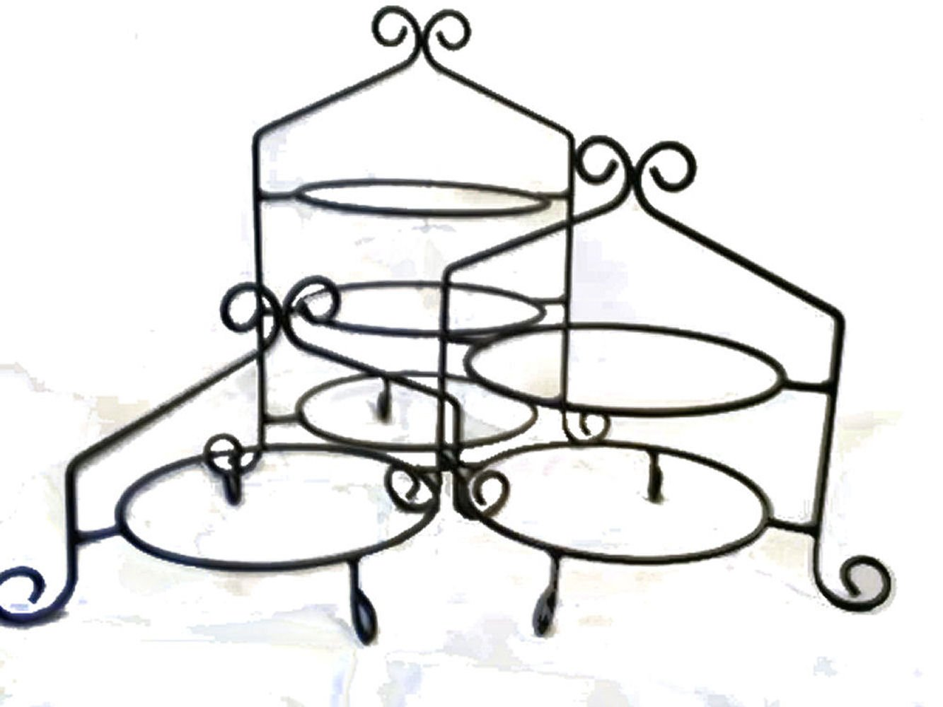 3 Pc Set - Hand Wrought Black Iron Cupcake Pie Plate Holder Rack Stand USA Made by Hand Crafted & American Made!