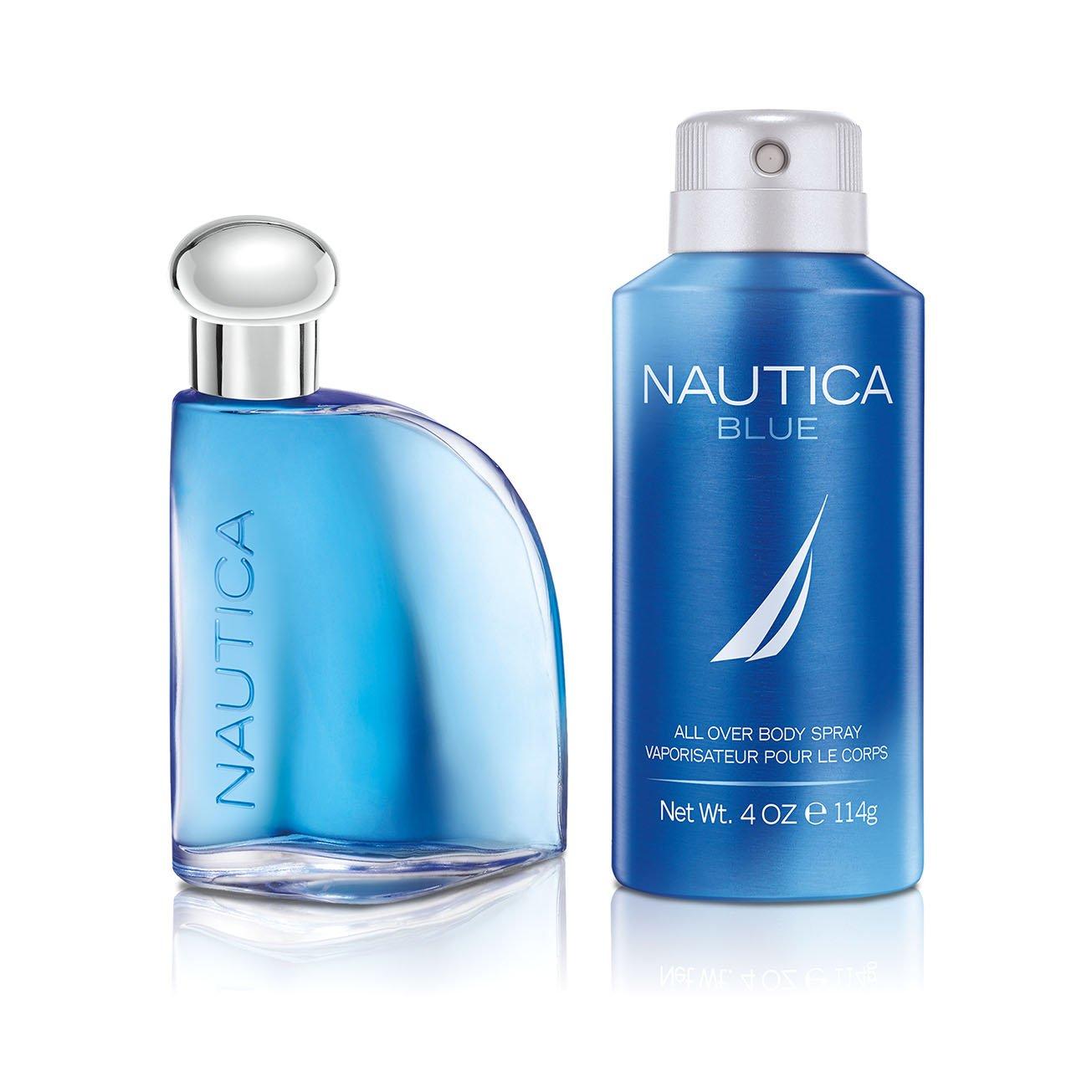 Nautica Blue, Men's Fragrance, 2 Piece Set,  1.7 oz. Eau de Toilette, 4.0 oz. Deodorizing Body Spray, Classic Scents, Great Gift Set