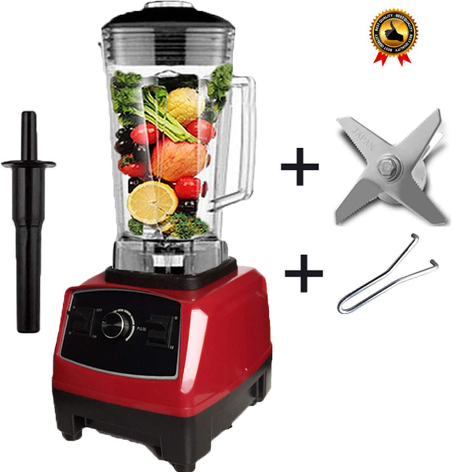 BPA free 2200W Heavy Duty Commercial Blender Professional Blender Mixer Food Processor Japan Blade Juicer Ice Smoothie Machine,Red blade tool