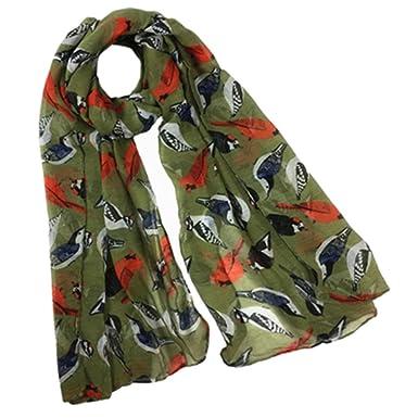 dee5e5e3714c2 HUHU833 Écharpes châle foulards Femmes mode impression oiseau animaux longue  écharpe châle Automne Hiver (armée