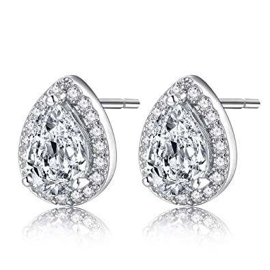62434205df999 Forever Love 18k Gold Plated Womens Cubic Zirconia Stud Earrings Crystal  Wedding Jewellery