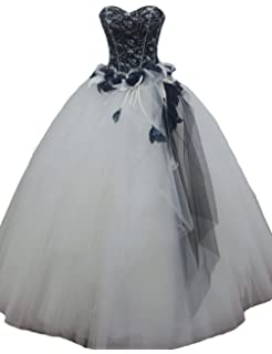 d7040bcb42a87 Kivary Long Gothic White and Black Lace Beaded Prom Gowns Wedding Dresses