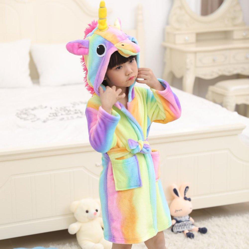 RENGANG-Kids Flannel Bathrobe Unisex Unicorn Hooded Pajamas Robe