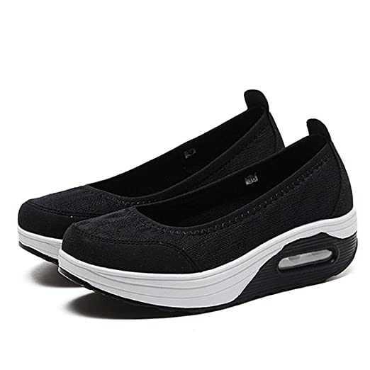 269b5aa96d36 Women Platform Shoes Lightweight Breathable Mesh Sneakers Athletic Non Slip  Soft Sole (Black