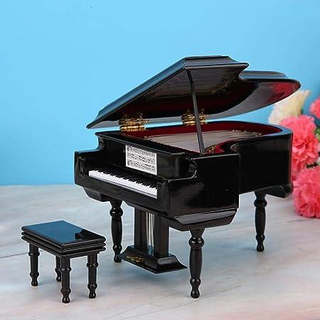 LDCP Réplica del Modelo de Piano en Miniatura Estuche Mini Piano Adornos de Instrumentos Musicales Pantalla para Navidad 1 Pieza, Negro, con música: Amazon.es: Hogar