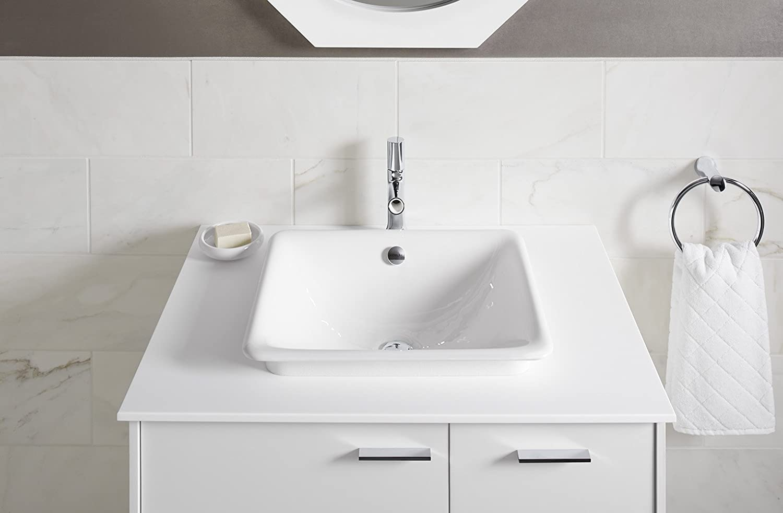 Biscuit KOHLER K-5400-96 Iron Plains Dual-Mount Bathroom Sink