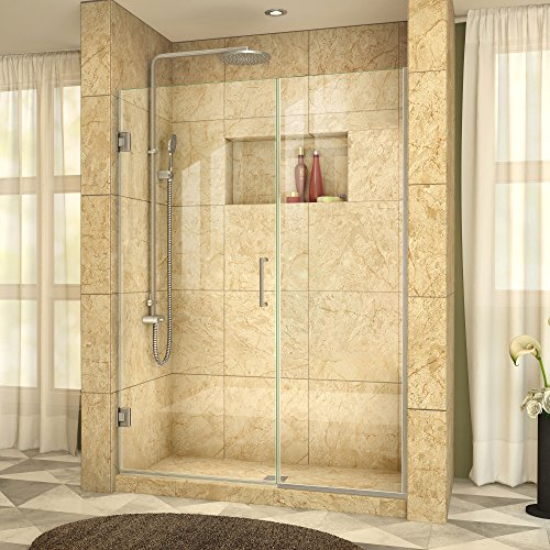 DreamLine Unidoor Plus 58-58 1/2 in. Width, Frameless Hinged Shower Door, 3/8'' Glass, Brushed Nickel Finish by DreamLine
