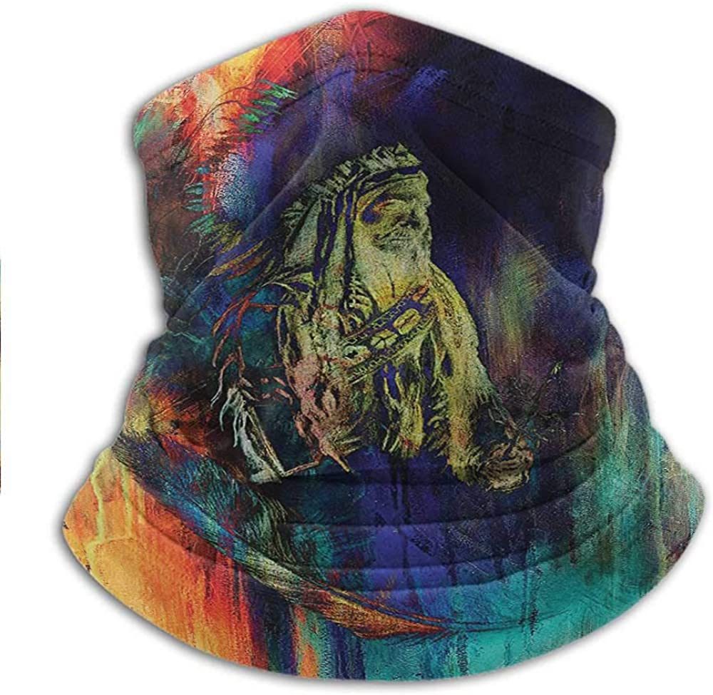 Face Bandana Native American For Dust, Outdoors, Festivals, Sports Grungy Futuristic Design of Native American Foreman Bull with Motley Effect 10 x 12 Inch Multicolor