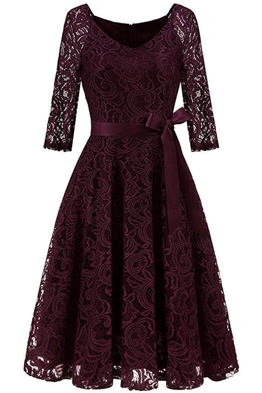 MisShow elegant V Ausschnitt Spitzen Kleid Abschlusskleid Abendkleider Cocktailkleider mit Langarm