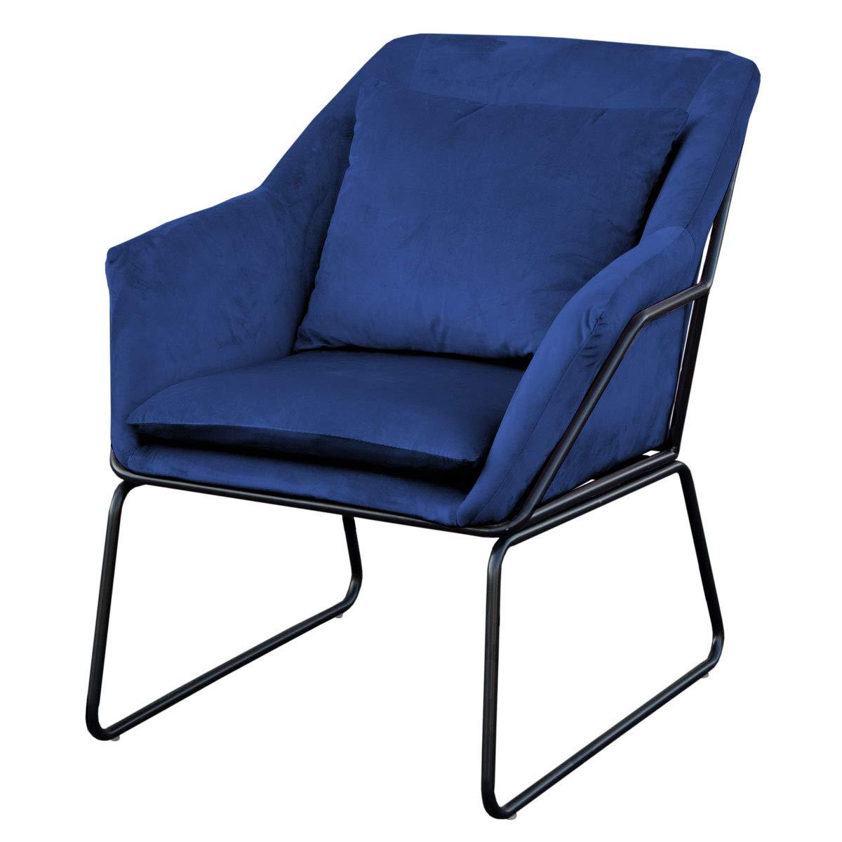 SVITA Sessel gepolstert Beistellsessel Lounge Couch Einzelsofa Relaxsessel Seat Fernsehsessel Stoff inkl. Kissen Stuhl Samt (Blau, Samt)