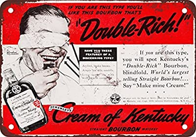 1939 Cream of Kentucky Bourbon Whiskey Vintage Look Reproduction Metal Tin Sign 8X12 Inches