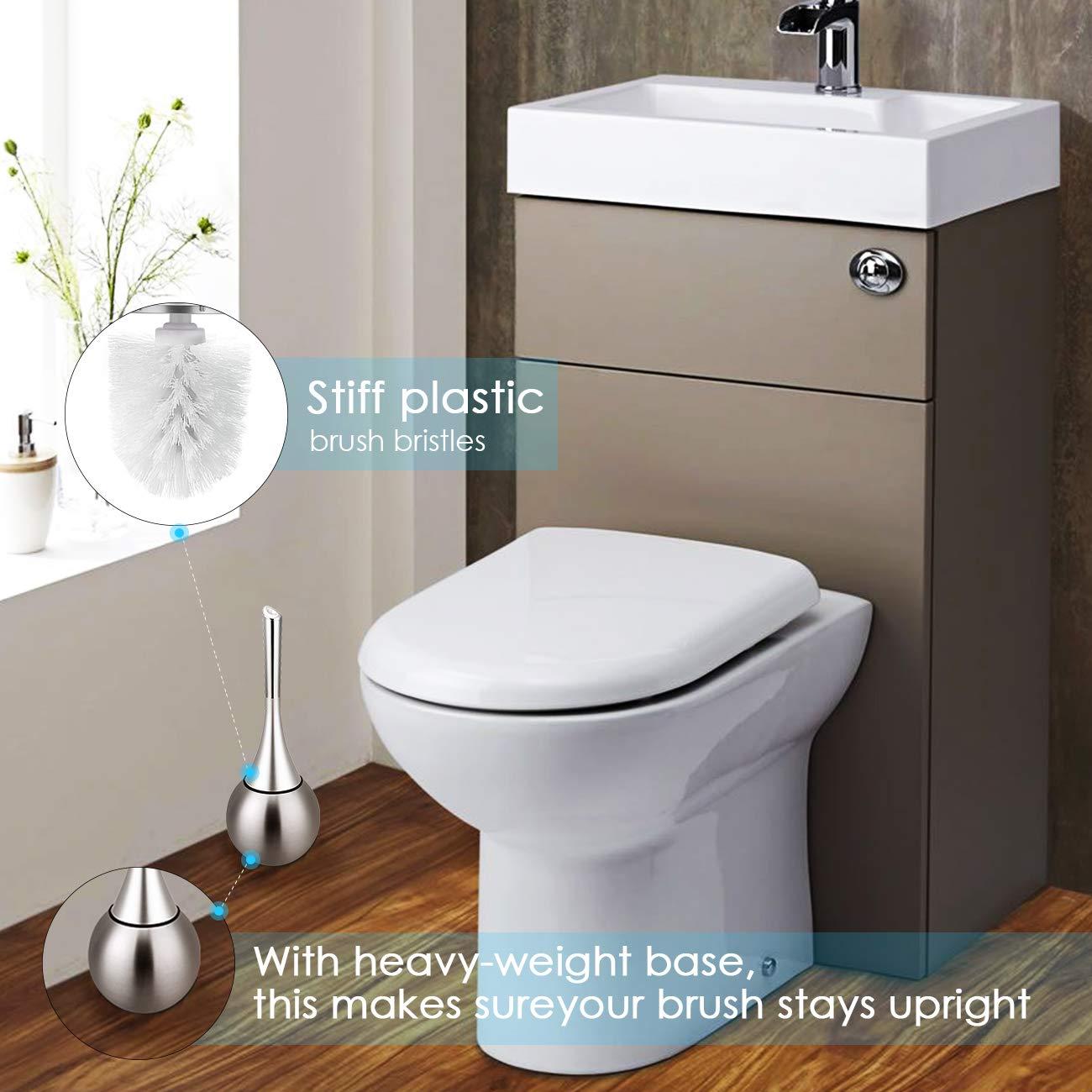 AGM Escobilla de Baño Elegante, Limpieza de Baño WC, Cepillo de Tocador, Escobilla WC, Cepillo de WC, Cepillo de Baño, Escobilleros de baño con Soporte de ...