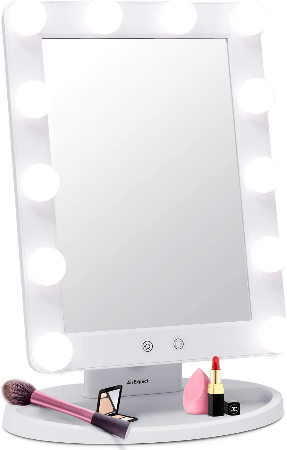 AirExpect Makeup Vanity Mirror with Light Bulbs – 3 Color Lighting Modes Hollywood Style Tabletops Lighted Cosmetic Mirror with 12 Dimmable LED Bulbs and Touch Control Design