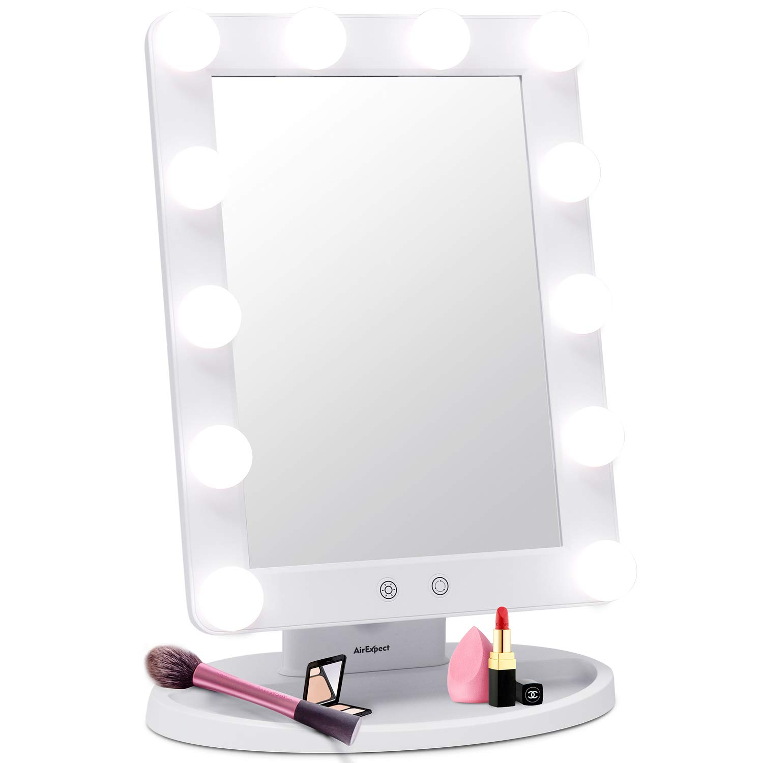 AirExpect Makeup Vanity Mirror with Light Bulbs - 3 Color Lighting Modes Hollywood Style Tabletops Lighted Cosmetic Mirror with 12 Dimmable LED Bulbs and Touch Control Design