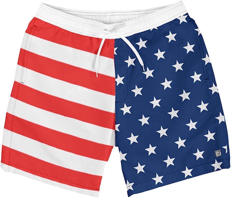 ee7b43d210 Tipsy Elves Men's Patriotic USA American Flag Swim Trunks: Small Red ...