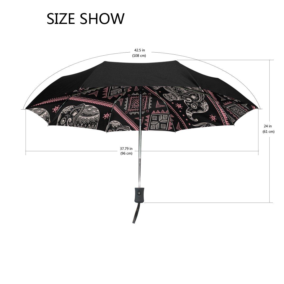 ALAZA Tribal Africana étnica Viaje Elefante Paraguas de Apertura automática Cerca de Protección a Prueba de Viento UV: Amazon.es: Deportes y aire libre