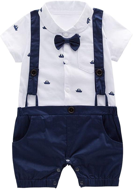 XM Nyan Mays Baby Boys Short Sleeves Faux Suspenders Romper Bowtie Onesie