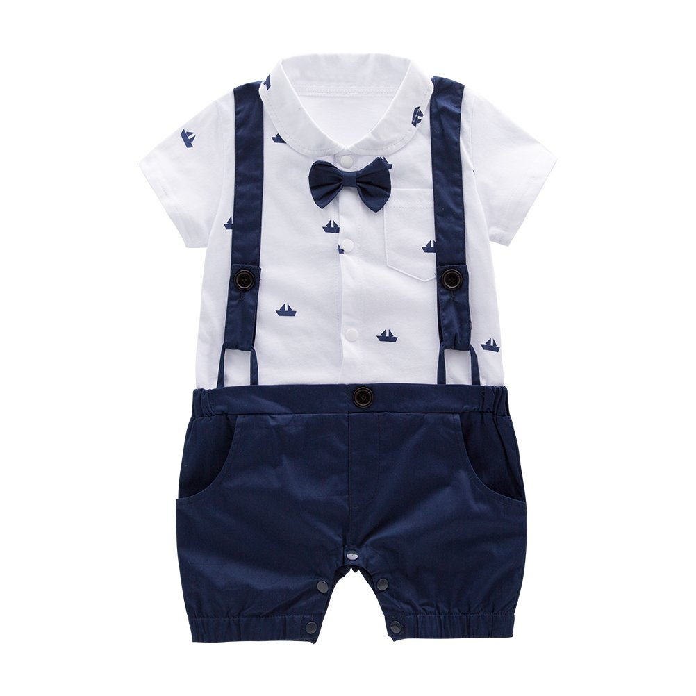 Nyan Cat May's Baby Boys Bowtie Faux Suspenders Romper Onesie