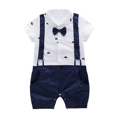 6b47c64d5bae Amazon.com  May s Baby Boys Bowtie Faux Suspenders Romper Onesie ...