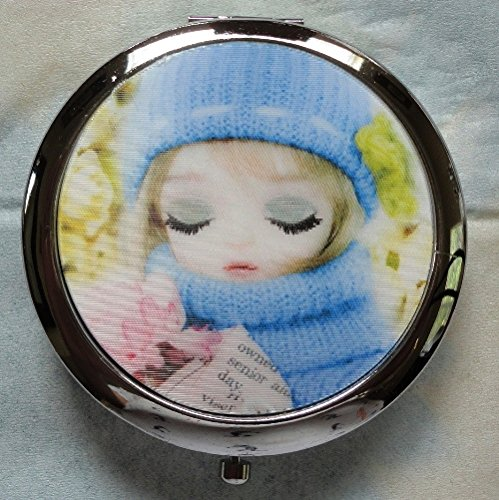 Lightahead® Purse Handbag Double Compact Cosmetic Travel Makeup Round Mirror 3D Girl Picture (4)