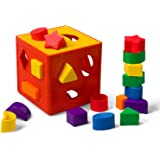 LuaLua Baby Blocks Shape Sorter Toys Puzzle Children's Building Blocks Colorful Sorter Cube Box Includes 18 Shapes - Color Recognition Shape Gifts Boy & Girl Toddlers