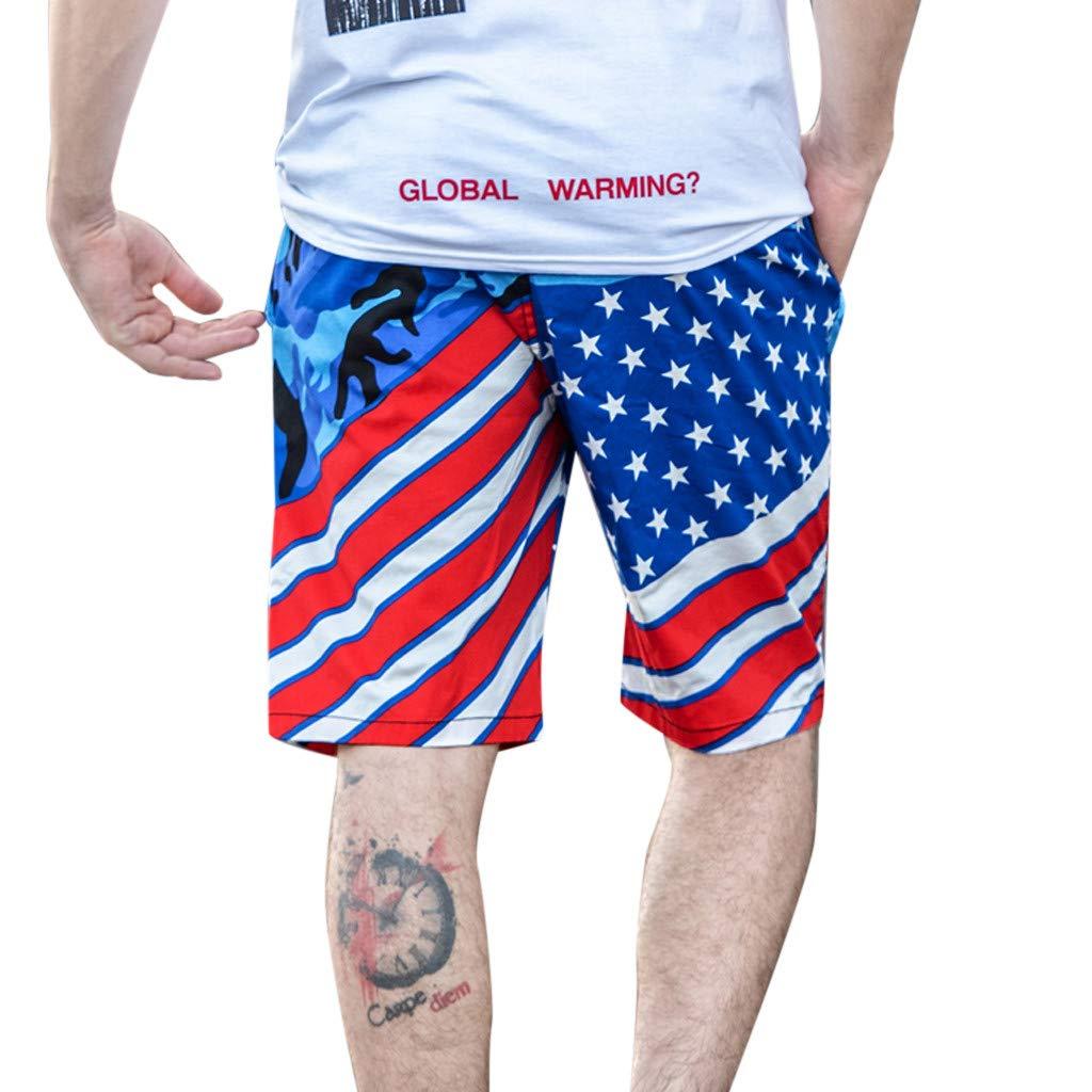 Men/'s American flag Print Volley Swim Short
