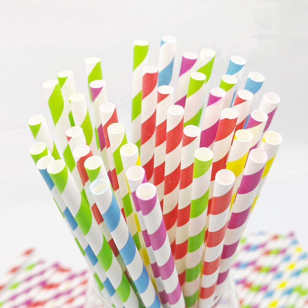 Teknub Paper Straw|150pcs Biodegradable Paper Straws Bulk|Environment-friendly Colorful Paper Drinking Straws for Juice,coffee,Soda|Wedding,Birthday,Party Supplies