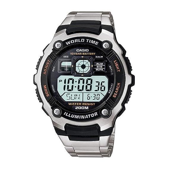 Casio AE-2000WD - Reloj para Hombre (5 alarmas, cronometro, Correa de Resina), Color Gris