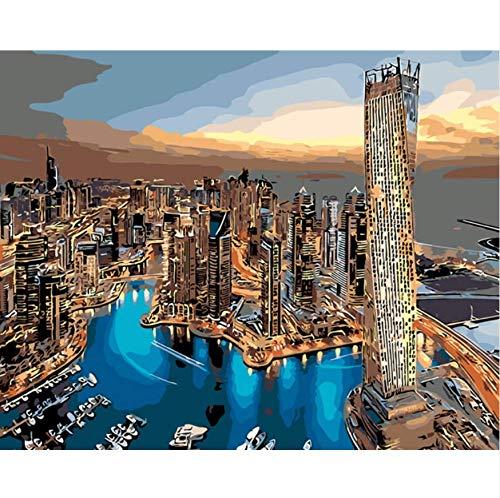 Dubai Paisaje Edificio Sala De Estar Decoracion De Oficina Pintado A Mano Pintura Al Oleo Cuadros Por Numeros Dibujo Por Numero Cartel De Bricolaje Sin Marco 40X50CM