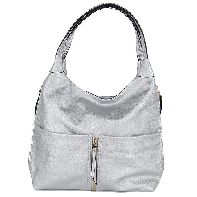f2eda0a944 Emila Shopping bag donna hobo borse a spalla con tracolla capiente da  ragazza viaggio lavoro argentata