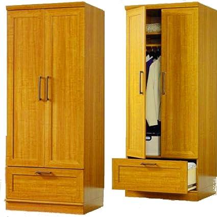 Charming EFD Stand Alone Wardrobe 2 Door With Drawer Shelf Garment Rod Wooden Oak  Brown Tall Narrow