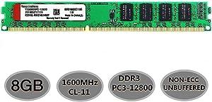 Yongxinsheng 8GB DDR3 1600MHz Desktop Computer UDIMM RAM Kit (PC3-12800) CL11 240Pin 1.5V Non-ECC Unbuffered Memory Stick Upgrade Module