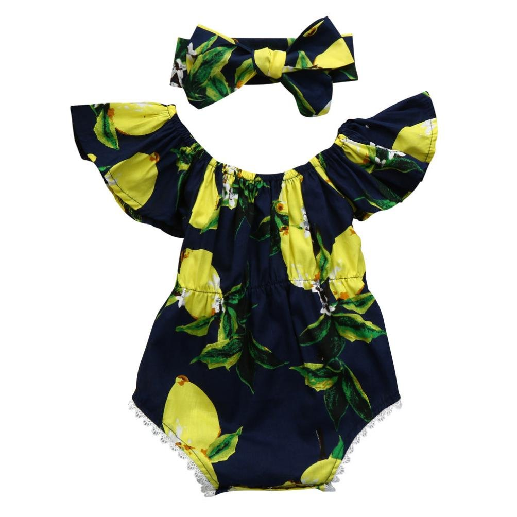 32497083ce Top2  FEITONG Newborn Infant Baby Girl Off Shoulder Floral Romper Jumpsuit  Headband Outfit Set (12Month