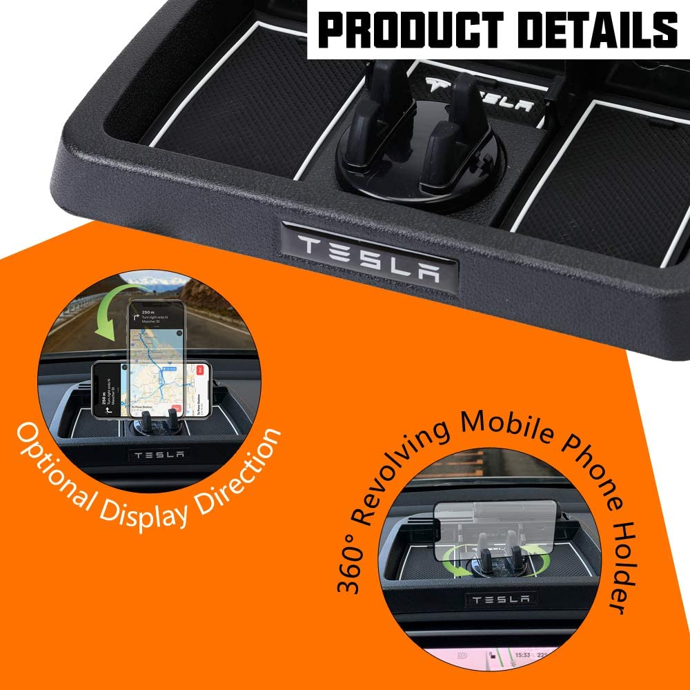 Dashboard Cellphone Mount Organizer for Tesla Model 3 Model Y Cell Phone Mount Holder Tray Center Container Coins Tray Storage Box Parking Card