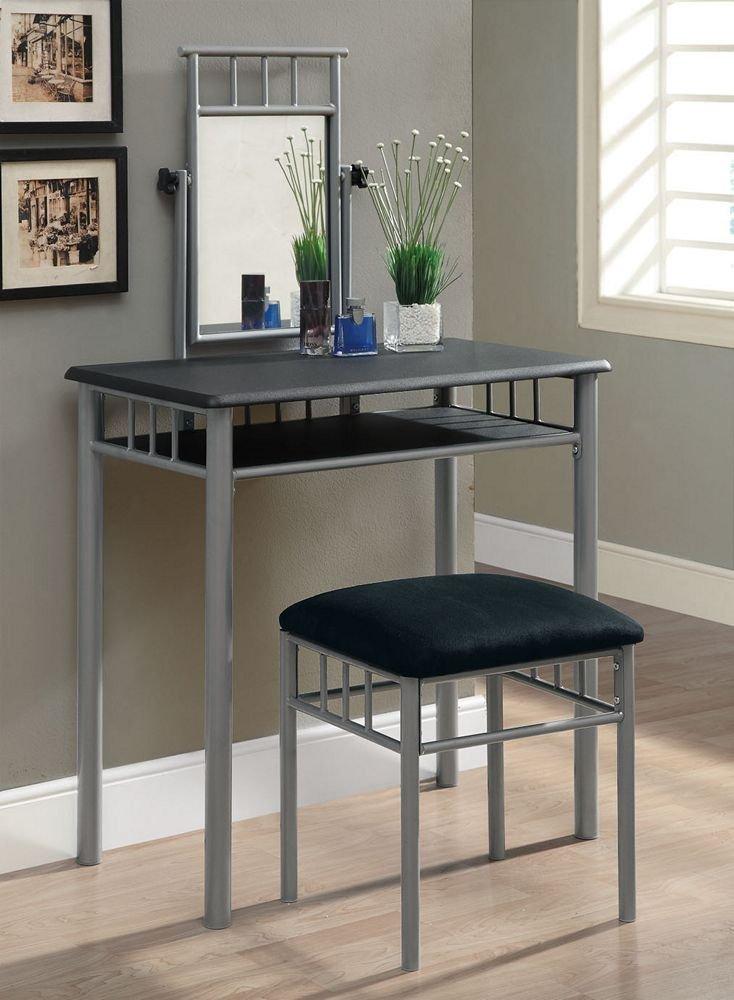 Amazon.com: Monarch Specialties Vanity Set, Cappuccino/Silver Metal, Set Of  2: Kitchen U0026 Dining