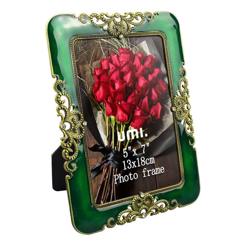Umi Essentials vintage Bilderrahmen 13x18cm aus Metall mit verzierten Kristallen als Tischrahmen