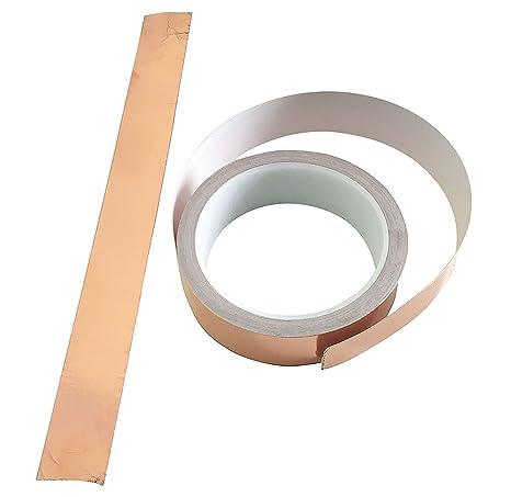 Cinta adhesiva de lámina de cobre (2, 54 cm x 10, 9 m), de Patio Eden; adecuada para ahuyentar babosas, como blindaje ante interferencias electromagnéticas ...