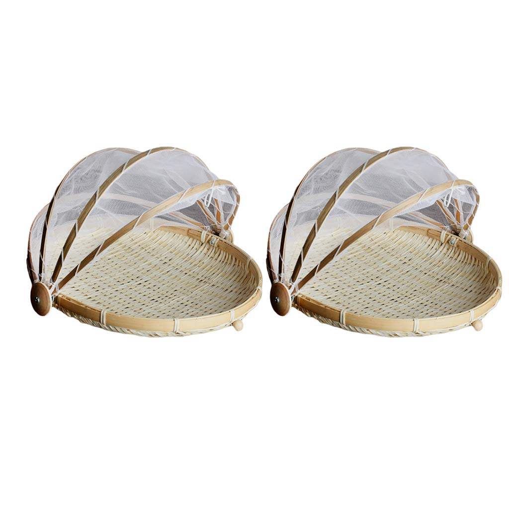 Baoblaze 2pc Bamboo Tent Basket Serving Food Picnic Pop up Mesh Screen Net Cover Set for Hiking Camping Travel