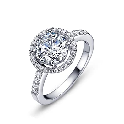 wedding center faux unique female diamond halo of luxury simulated carat rings