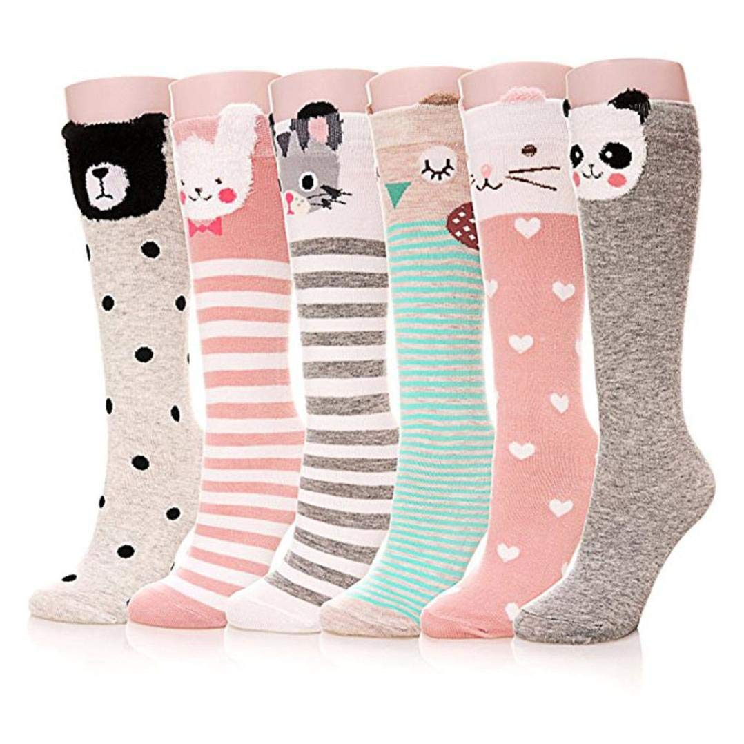 WARMSHOP Kids Girls 4 or 6 Pair Cartoon Animal Print Cotton Warm Seamless Soft Knee High Long Socks Stocking China